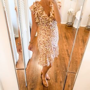 NWT WAYF Daphne Floral Print Ruffle Midi Dress
